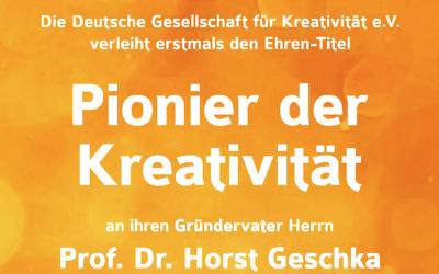 DGfK kührt Horst Geschka zum Pionier der Kreativität